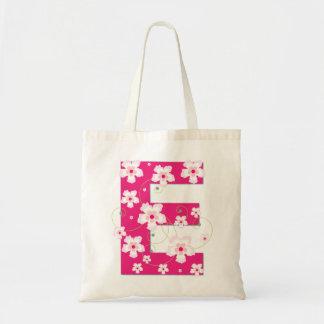 Monogram initial E floral flowery pretty tote bag
