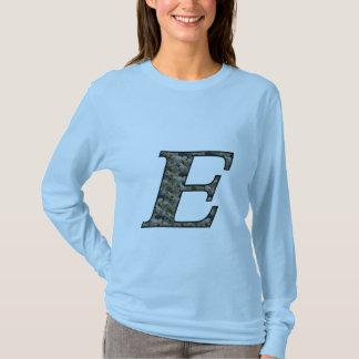 Monogram Initial E Hydrangea Floral T Shirt