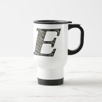 Monogram Initial E Hydrangea Floral Travel Mug