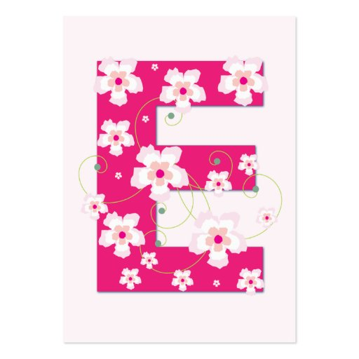 Monogram initial E pink floral business card