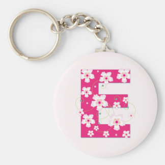 Monogram initial E pretty pink floral keychain