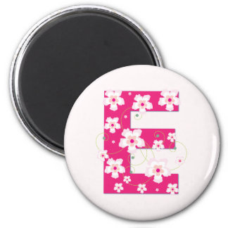 Monogram initial E pretty pink floral magnet