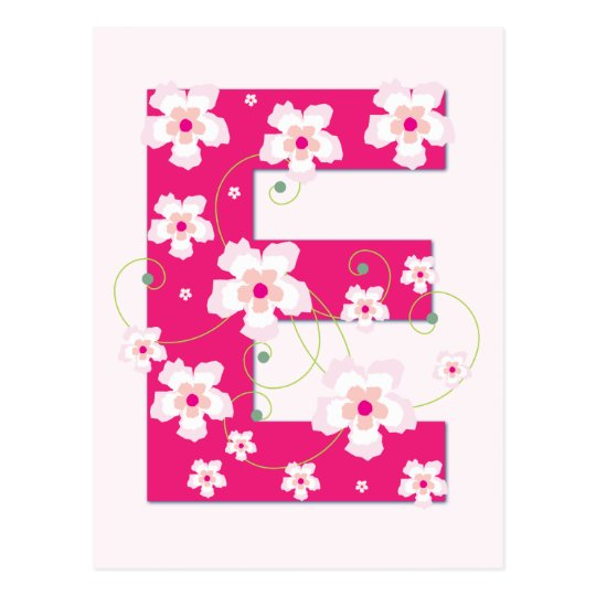 Monogram initial E pretty pink floral postcard