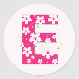 Monogram initial E pretty pink floral stickers