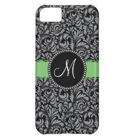 Monogram Initial Elegant Black Damask Green Ribbon Case For iPhone 5C