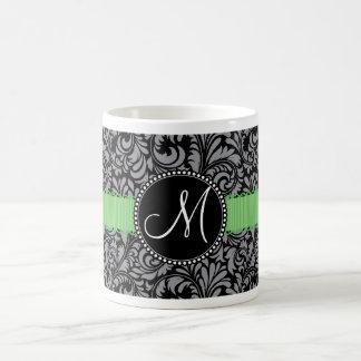 Monogram Initial Elegant Black Damask Green Ribbon Classic White Coffee Mug