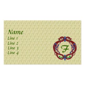Monogram Initial F Celtic Design Business Card