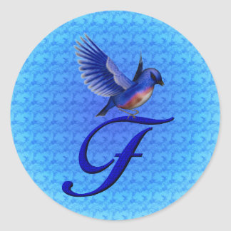 Monogram Initial F Elegant Bluebird Sticker
