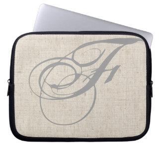 Monogram Initial F Linen-Look Laptop Sleeve