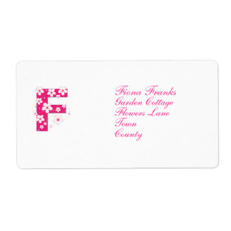 Monogram initial F pink floral address labels