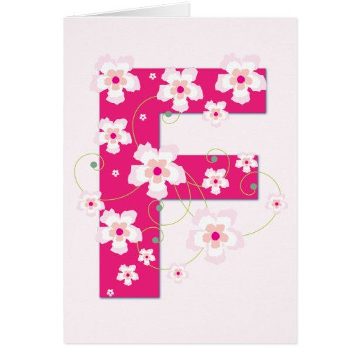 Monogram initial F pretty pink floral card