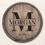 "Monogram Initial Family Name Rustic Faux Wooden Round Paper Coaster<br><div class=""desc"">Monogram Initial Family Name Rustic Faux Wooden Paper Coaster.</div>"