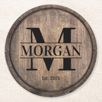 Monogram Initial Family Name Rustic Faux Wooden Round Paper Coaster
