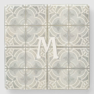 Monogram Initial French Vintage Farm House Rustic Stone Coaster