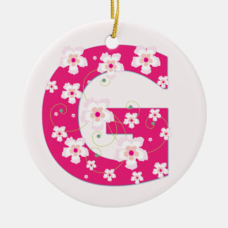 Monogram initial G pretty pink floral ornament