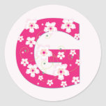 Monogram initial G pretty pink floral stickers