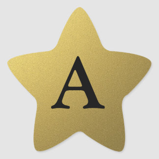 Monogram Initial Gold Star Seals And Stickers