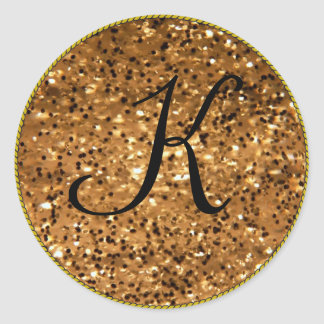 Monogram Initial Gold Template Classic Round Sticker