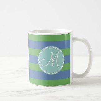 Monogram Initial Green Periwinkle Striped Pattern Coffee Mug