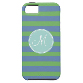 Monogram Initial Green Periwinkle Striped Pattern iPhone SE/5/5s Case