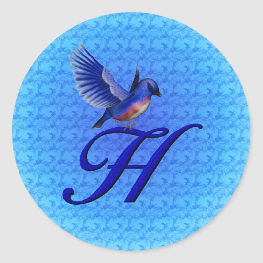 Monogram Initial H Elegant Bluebird Sticker