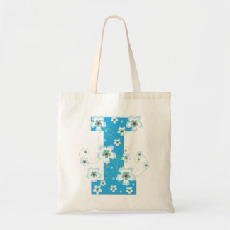 Monogram initial I floral flowery pretty tote bag