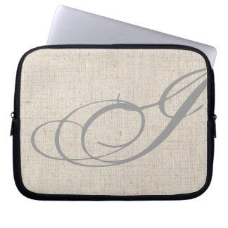 Monogram Initial I Linen-Look Laptop Sleeve