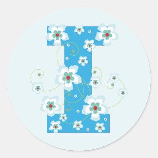 Monogram initial I pretty blue floral stickers