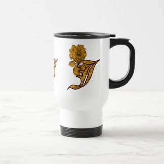 Monogram Initial J Gold Peony Floral Travel Mug