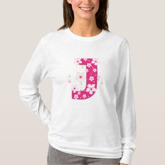 Monogram initial J pink  floral design t-shirt
