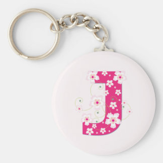 Monogram initial J pretty pink floral keychain
