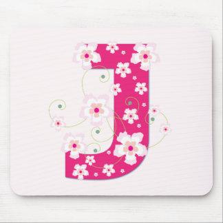 Monogram initial J pretty pink floral mousepad
