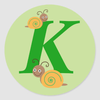 Monogram initial K brian the snail kids stickers