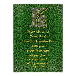 Monogram Initial K Daisies Green Floral Invite