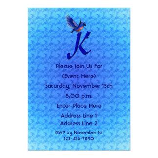 Monogram Initial K Elegant Bluebird Invite