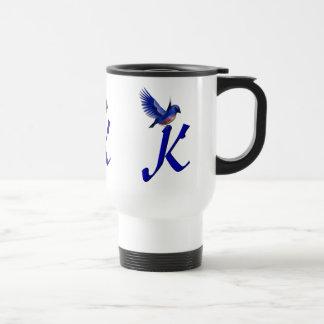 Monogram Initial K Elegant Bluebird Travel Mug