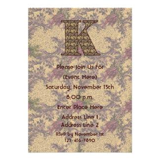 Monogram Initial K Elegant Floral Invite
