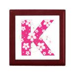 Monogram initial K floral jewelry, trinket box
