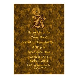 Monogram Initial K Gold Peony Elegant Invite