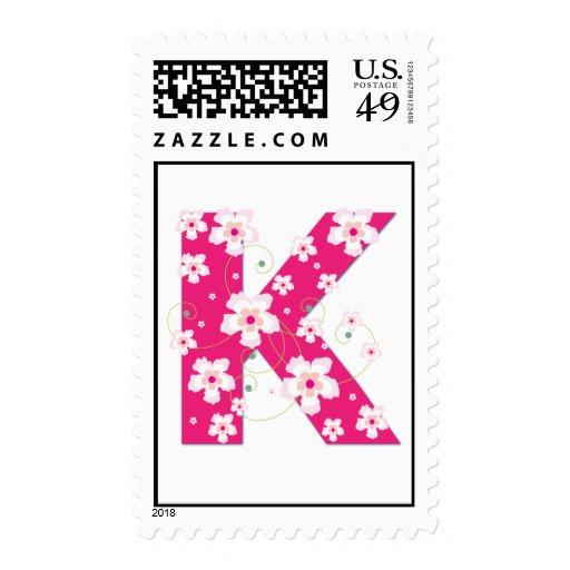 Monogram initial K pretty floral postage stamp