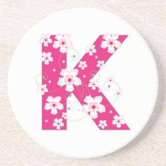 Monogram initial K pretty pink floral coaster, mat Sandstone Coaster