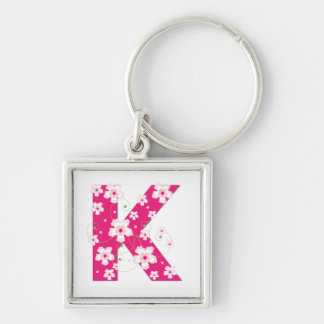 Monogram initial K pretty pink floral keychain