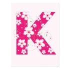 Monogram initial K pretty pink floral postcard