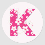 Monogram initial K pretty pink floral stickers