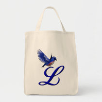 Monogram Initial L Bluebird Tote Bag