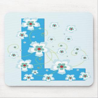 Monogram initial L pretty blue floral mousepad
