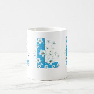Monogram initial L pretty blue flowers mug