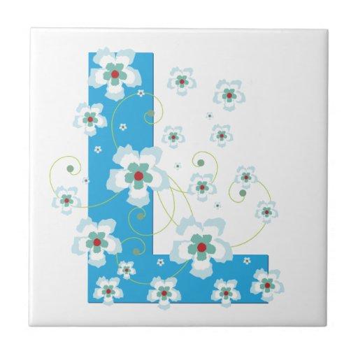 Monogram initial L pretty floral blue tile, trivet