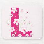 Monogram initial L pretty pink floral mousepad