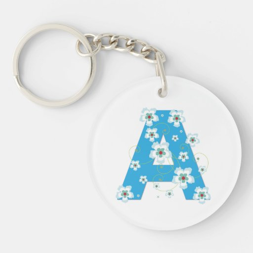 Monogram initial letter A blue hibiscus flowers Keychain